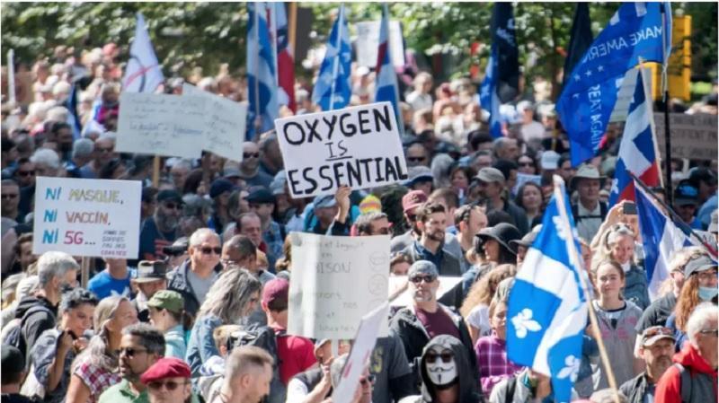 برگزاری راهپیمایی عظیم ضدماسک در مونترال با حضور گروه های مذهبی و سیاسی کبک