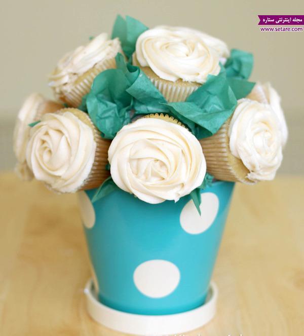 کاپ کیک آناناس با تزیین گلدانی